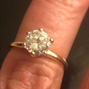 Yellow Gold 6 Prong  1 Carat Cubic Zirconia Ring